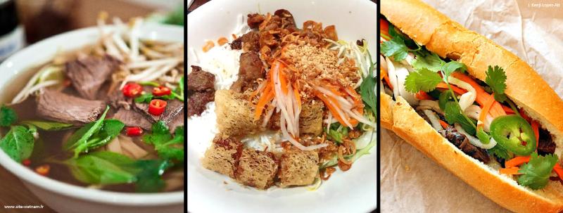Différents plats vietnamiens: pho, bo bun et banh mi