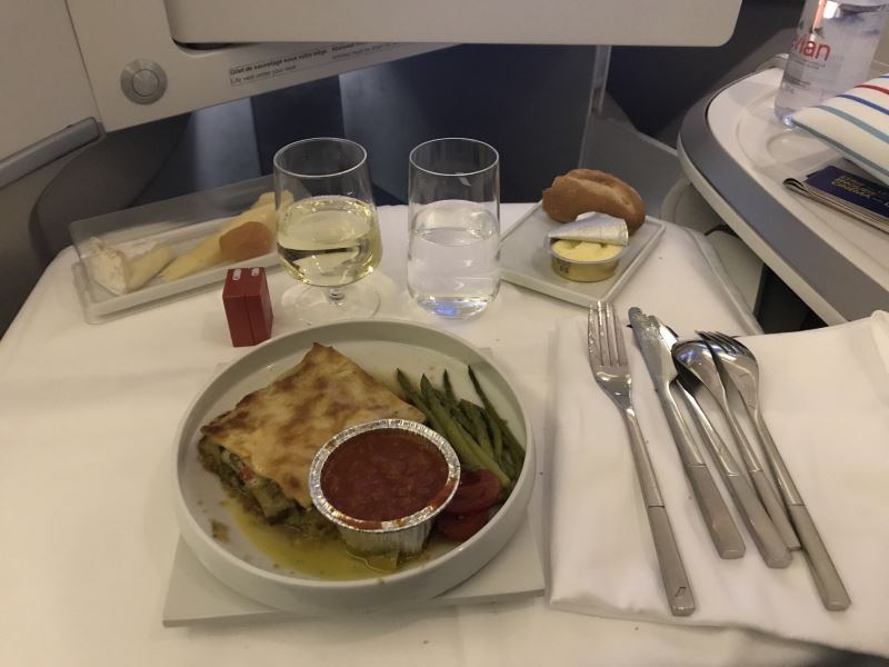 Le dîner en Business Class chez Air France